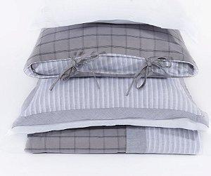 Colcha + 2 Porta Travesseiro Água Marinha Cinza - Solteiro
