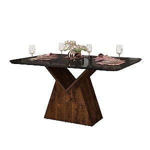 Mesa de Jantar Mila 136 x 90 Tampo Curvo Trufa/Preto Gloss - Dj Móveis