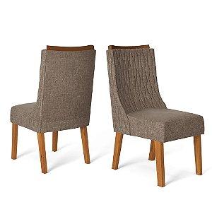 Kit com 2 Cadeiras Amelia Telha/Linho Marrom - Dj Móveis