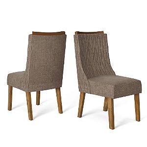 Kit com 2 Cadeiras Amelia Tronco Ripado/Marrom - Dj Móveis