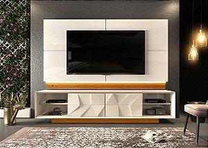 """Rack 3D Form com Painel para Tvs de 75"""" Colone Creme/Mel - Dj Móveis"""