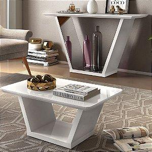 Mesa de Centro e Aparador Lotus Branco - Dj Móveis