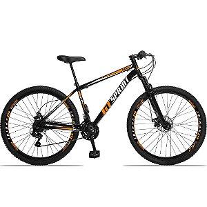 """Bicicleta Aro 29 GT SPRINT 21v Freio a disco Mecânico PRETA/LARANJA - Quadro 17"""""""