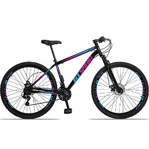 """Bicicleta Aro 29 GT SPRINT 21v Freio a disco Mecânico PRETA/ROSA - Quadro 17"""""""