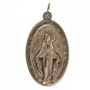 Medalha Grande de Nossa Senhora das Graças (banhada a Prata)