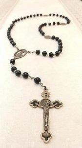 Terço Tradicional Preto - Medalha Milagrosa Vazada