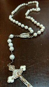 Terço Tradicional Branco - Com Medalha Milagrosa