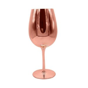 Taça de Vidro Cristal Sublimática Cromada Rosê Gold Para Vinho 580ml (Linha Elegance) (2702) - 01 Unidade