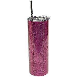 Copo Inox com Tampa e Canudo 600ml Pink Brilhante Perolado Para Sublimação (3320) - 01 Unidade