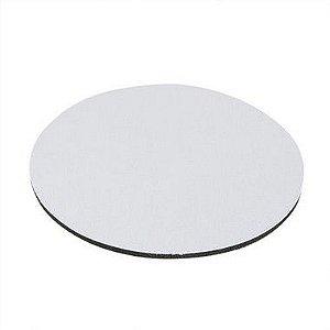 Mouse Pad Extra Branco Redondo 20x20cm Para Sublimação Com Base Em Latex Preto de 3mm Antiderrapante - Pacote Com 10 Unidades (2.B003)