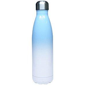 Garrafa Térmica Esportiva em Inox Bicolor Branca e Azul Claro 500ml Para Sublimação LiveSub® (3259) - 01 Unidade