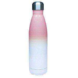 Garrafa Térmica Esportiva em Inox Bicolor Branca e Rosa 500ml Para Sublimação LiveSub® (3262) - 01 Unidade