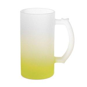 Caneca de Chopp Vidro Jateado Degradê Amarelo 475ml Para Sublimação (LiveSub®) (3439) - 01 Unidade