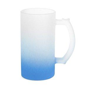Caneca de Chopp Vidro Jateado Degradê Azul Claro 475ml Para Sublimação (LiveSub®) (3444) - 01 Unidade