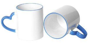 Caneca Cerâmica Branca Com Alça de Coração e Borda Azul 325ml Para Sublimação (331) - 01 Unidade