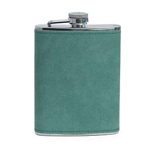 Cantil de Aço Inox para Sublimação com Capa em Courino Verde - 240ml (3507)