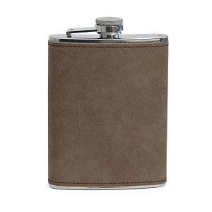 Cantil de Aço Inox para Sublimação com Capa em Courino Cinza Escuro - 240ml (3506)