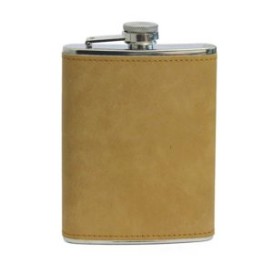 Cantil de Aço Inox para Sublimação com Capa em Courino Marrom Claro - 240ml (3505)