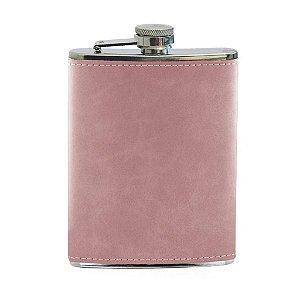 Cantil de Aço Inox para Sublimação com Capa em Courino Rosa - 240ml (3508)
