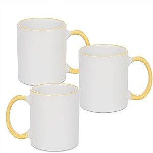 Caneca Cerâmica Branca com Borda e alça em Amarelo Ouro 325ml Resinada P/ Sublimação (B094) - 36 Unidades (Caixa Fechada)