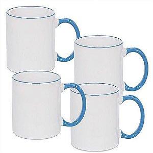 Caneca Cerâmica Branca com Borda e alça em Azul Claro 325ml Resinada P/ Sublimação (B088) - 36 Unidades