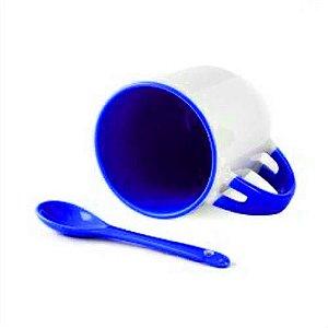 Caneca Cerâmica Branca Para Sublimação Com Alça, Interior e Colher em Azul Escuro 354ml (B027) - 36 Unidades