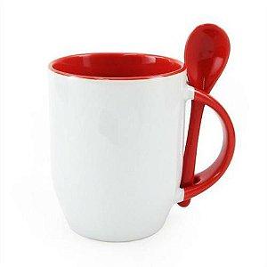 Caneca Cerâmica Branca Para Sublimação Com Alça, Interior e Colher em Vermelho 354ml ShopVirtua3000® (220) - 01 Unidade