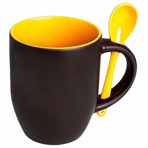 Caneca Cerâmica Mágica Preta Fosca 325ml Resinada para Sublimação Com Interior e Colher em Amarela (B171) - 01 Unidade