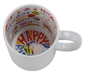 Caneca Cerâmica 325 ml Branca Motto Mug Resinada P/ Sublimação - Happy Birthday ShopVirtua3000® (579) - 01 Unidade