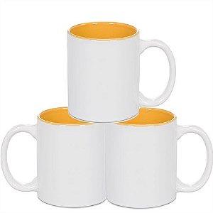 Caneca Cerâmica Branca Somente com interior em Amarelo 325ml Resinada P/ Sublimação - 36 Unidades (Caixa Fechada)