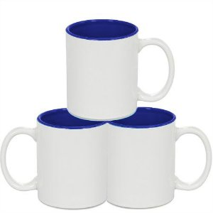 Caneca Cerâmica Branca Somente com interior em Azul Escuro 325ml Resinada P/ Sublimação (212) - 36 Unidades (Caixa Fechada)