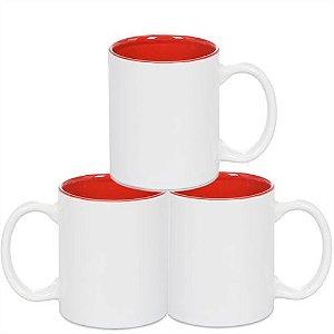 Caneca Cerâmica Branca Somente com interior em Vermelho 325ml Resinada P/ Sublimação - 36 Unidades (Caixa Fechada)