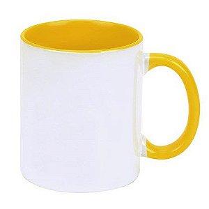 Caneca Cerâmica Branca c/ Interior e Alça Amarela 325ml ShopVirtua3000® (458) - 01 Unidade