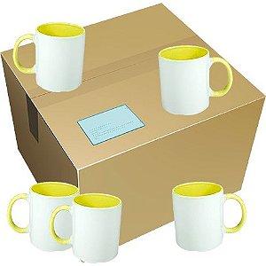 Caneca Cerâmica Branca c/ Interior e Alça Amarela 325ml ShopVirtua3000® (458) - 36 Unidades (Caixa Fechada)
