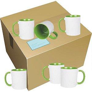 Caneca Cerâmica Branca c/ Interior e Alça Verde Claro 325 ml ShopVirtua3000® (459) - 36 Unidades (Caixa Fechada)