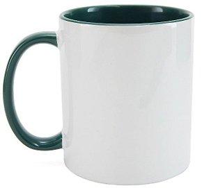 Caneca Cerâmica Branca c/ Interior e Alça Verde Escuro 325ml ShopVirtua3000® (1939) - 36 Unidades (Caixa Fechada)