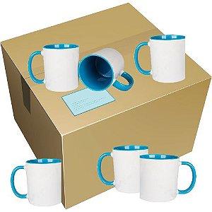 Caneca Cerâmica Branca com interior e alça em Azul Claro 325ml Resinada P/ Sublimação (B009) - 36 Unidades (Caixa Fechada)
