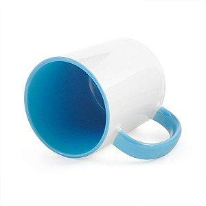 Caneca Cerâmica Branca com interior e alça em Azul Claro 325ml Resinada P/ Sublimação (B009) - 01 Unidade