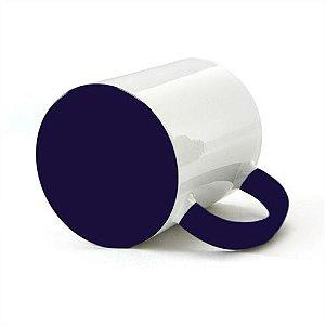 Caneca Cerâmica Branca com interior e alça em Azul Escuro 325ml Resinada P/ Sublimação (B002) - 36 Unidades (Caixa Fechada)
