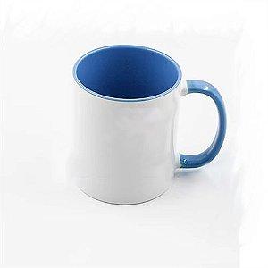 Caneca Cerâmica Branca com interior e alça em Azul Mediano 325ml Resinada P/ Sublimação (B012) - 01 Unidade