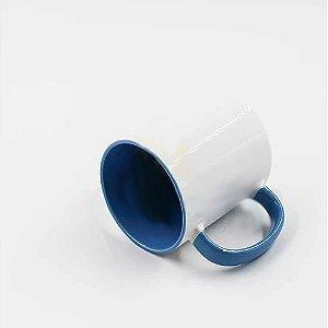 Caneca Cerâmica Branca com interior e alça em Azul Mediano 325ml Resinada P/ Sublimação (B012) - 36 Unidades (Caixa Fechada)