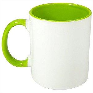 Caneca Cerâmica Branca com interior e alça em Verde Claro 325ml Resinada P/ Sublimação (B010) - 01 Unidade