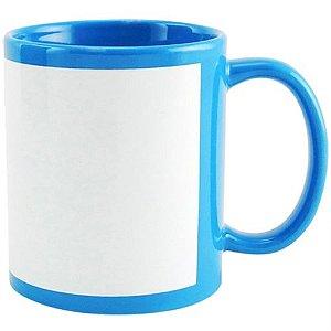 Caneca Cerâmica Azul Claro com Tarja Branca 325ml Resinada P/ Sublimação (B019) - 01 Unidade