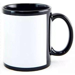 Caneca Cerâmica Preta com Tarja Branca 325ml Resinada P/ Sublimação - ShopVirtua3000® (197) - 01 Unidade