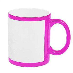 Caneca Cerâmica Rosa Neon com Tarja Branca 325ml Resinada P/ Sublimação (B130.1) - 36 Unidades (Caixa Fechada)