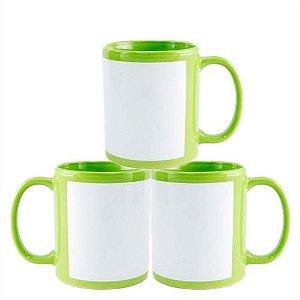 Caneca Cerâmica Verde com Tarja Branca 325ml Resinada P/ Sublimação (B020) - 36 Unidades (Caixa Fechada)