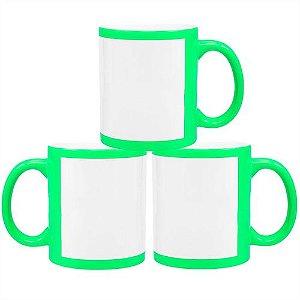 Caneca Cerâmica Verde Neon com Tarja Branca 325ml Resinada P/ Sublimação (B127) - 36 Unidades