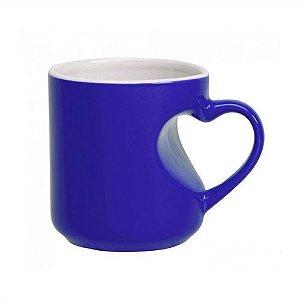 Caneca Cerâmica Mágica Azul Formato de Coração 325ml Resinada P/ Sublimação (B100) - 01 Unidade