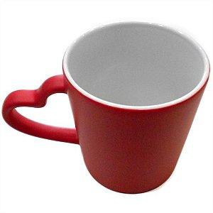 Caneca Cerâmica Mágica Vermelha C/Alça de Coração 325ml Resinada P/ Sublimação (B096) - 01 Unidade