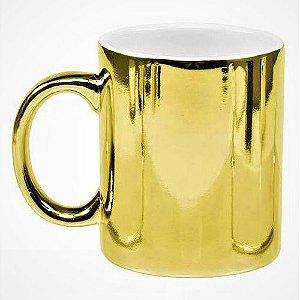 Caneca Cerâmica Cromada Dourada P/Sublimação 325ml ShopVirtua3000® (1978) - 01 Unidade